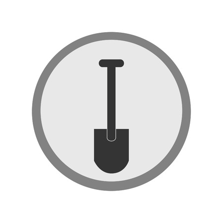 digging: Round grey shovel icon vector isolated, digging icon, flat icon Illustration