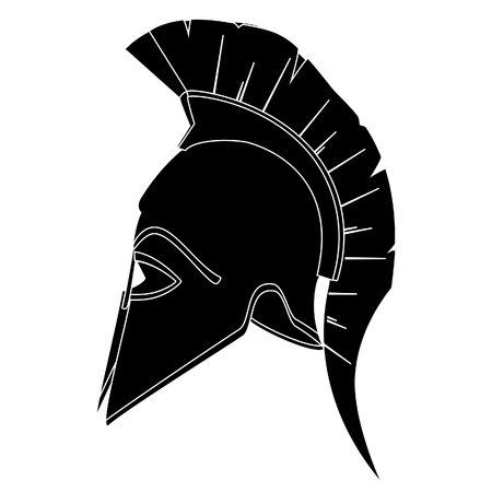 arte greca: Antico, casco greco, casco Spartan, casco trojan vettore silhouette