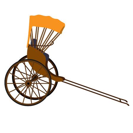 Hand pulled rickshaw, rickshaw china, indian rickshaw vector