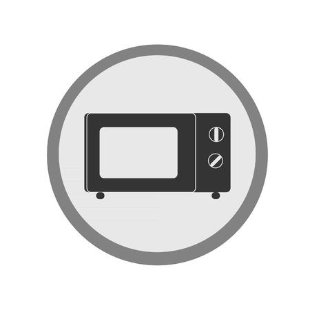 microwave oven: Icono Microondas vector aislado, icono plano y redondo, icono de cocina, horno microondas, icono de la cocina