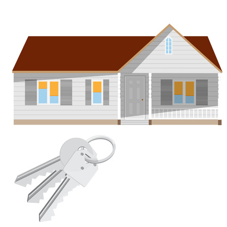 dwell: Modern house and keys vector isolated, real estate, home for sale Illustration