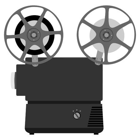 movie projector: Old, vintage movie projector vector isolated, vintage movie camera, film camera Illustration