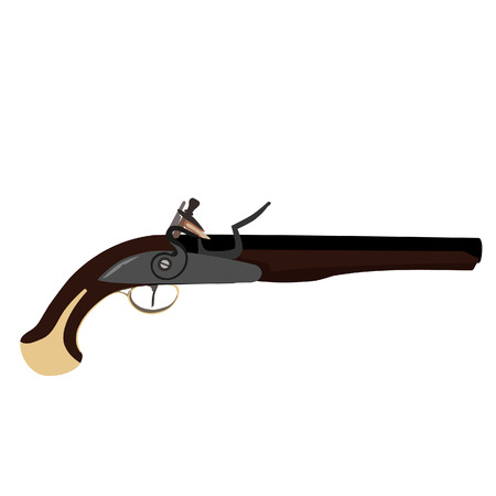 flintlock: Vintage musket gun vector isolated, flintlock gun