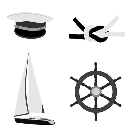 pirate crew: Navy set with captain hat, ship steering wheel, sail boat and square knot