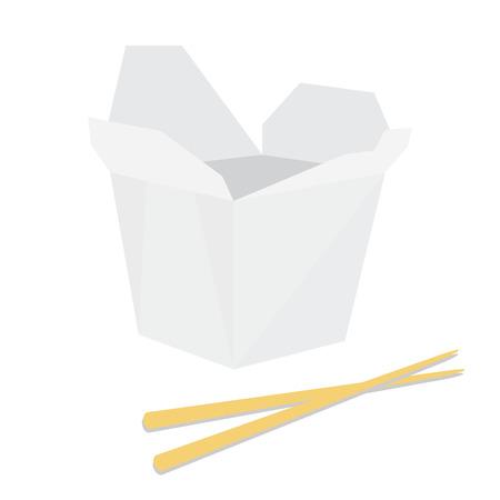chinese fast food: Caja de fideos blanco con palillos, asi�tico de comida r�pida, para llevar caja, fideos de comida para llevar, Vectores