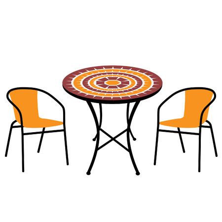 SILLA: Mesa al aire libre de la vendimia y sillas aislados, mesa redonda y sillas vector