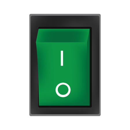 switch off: Green switch off button vector, on off button, off icon Illustration