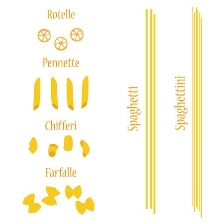 macaroni: Macaroni set vector, pasta collection, macaroni icon, pasta types names