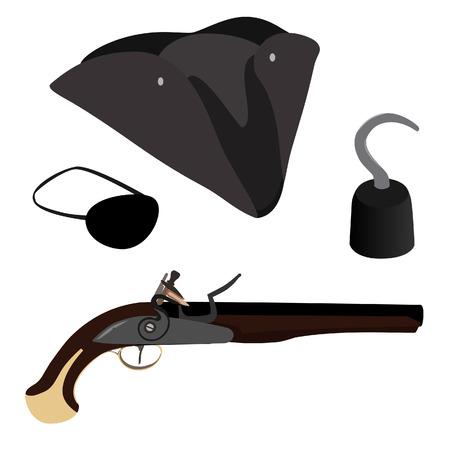 sombrero pirata: Conjunto pirata, gancho de pirata, el sombrero del pirata, remiendo del ojo del pirata y la pistola mosquete