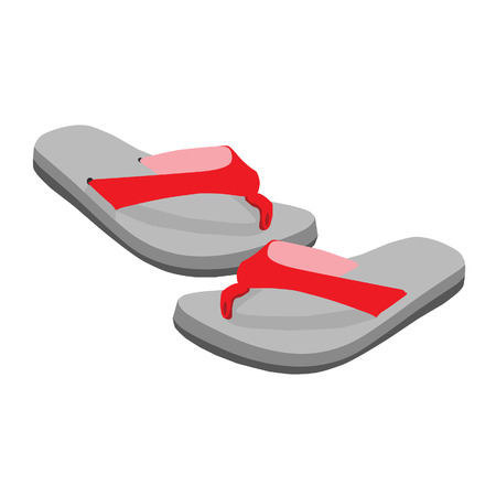 Flip flop pair, red beach sandals vector isolated, slippers, man sandals, woman sandals