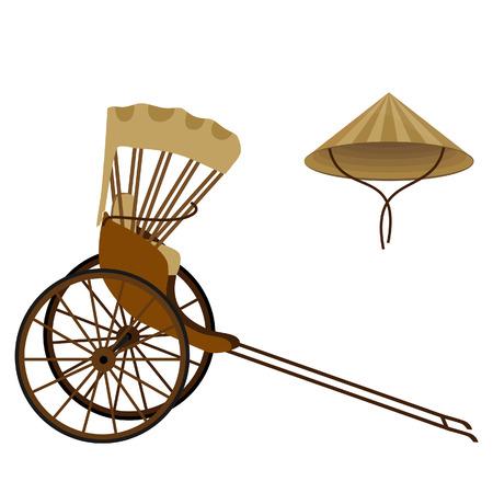 rikscha: Hand gezogen Rikscha und chinesische konische Hut aus Stroh Illustration