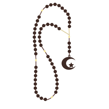 rosary: Islamic brown rosary beads with star and moon vector isolated, turkish rosary beads