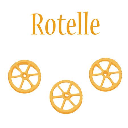 macaroni: Rotelle pasta vector isolated, macaroni icon, pasta collection Illustration
