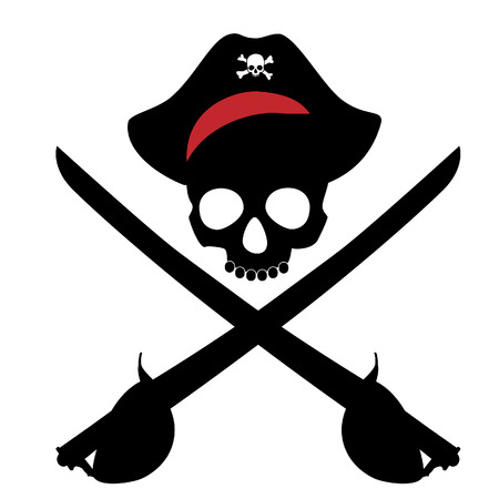 cutlass: Pirate skull in bandana and two crossed pirate sword cutlass vector Illustration