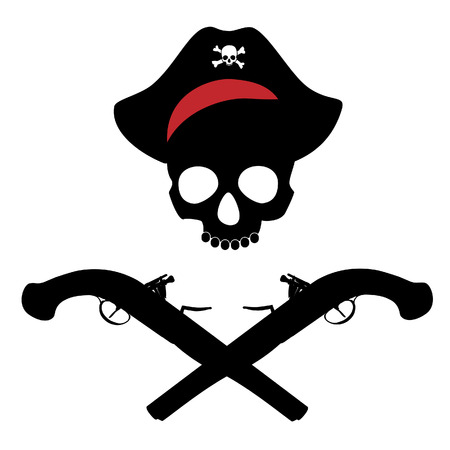 musket: Pirate skull in bandana and two crossed vintage musket gun vector