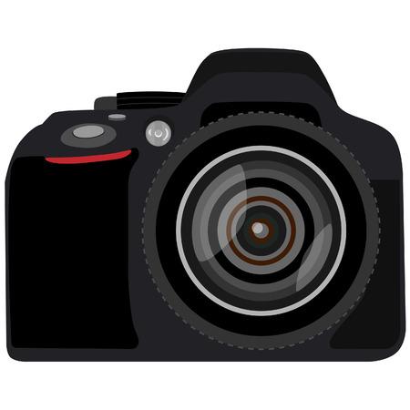 digital slr: Black slr camera vector isolated, digital camera