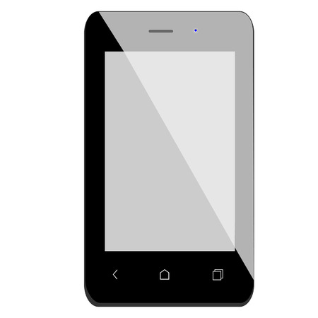 touchscreen: Black smartphone vector isolated, mobile phone, touchscreen