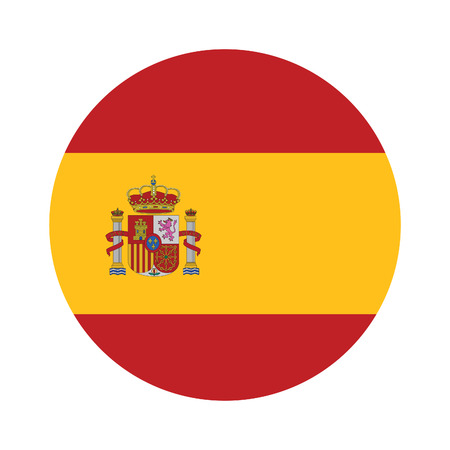 Round spain flag vector icon isolated, spain flag button
