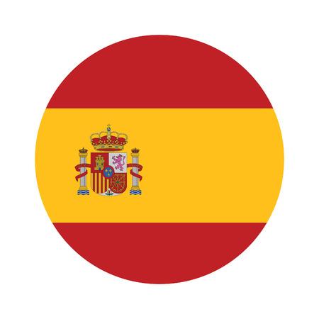 barcelona spain: Round spain flag vector icon isolated, spain flag button