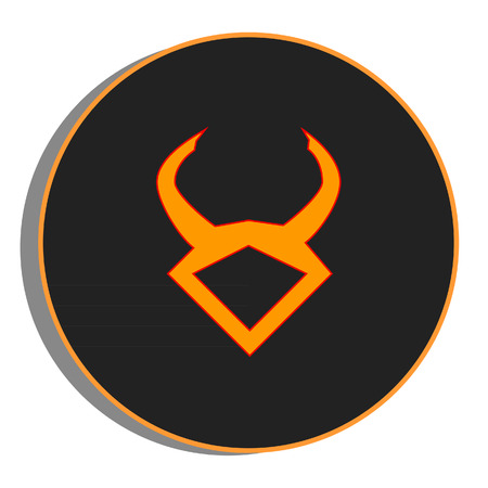 taurus sign: Black and orange round zodiac taurus sign, icon vector isolated