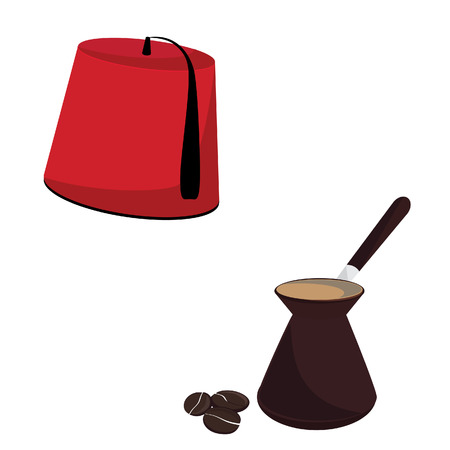 Red turkish hat and coffee pot with coffee beans vector set, turkish culture Vector