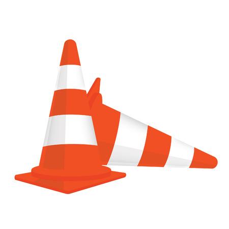 señales trafico: Dos de tráfico conos de tráfico conos aislados, conos de tráfico de vectores, conos de tráfico naranja