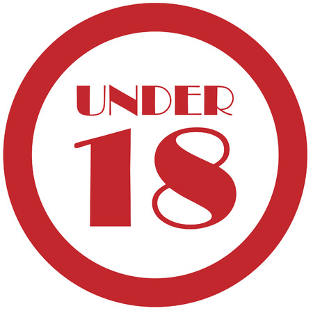 not permitted: Round red under 18 eighteen stop sign vector isolated Illustration