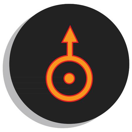 Round, black and orange uranus symbol, planet symbol