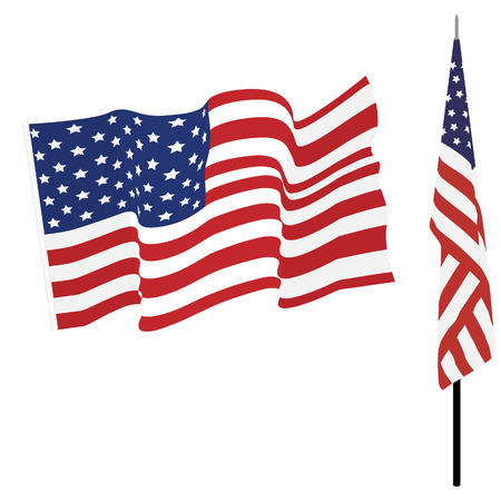 star background: Waving american flag and flag on stand, usa flag vector set isolated Illustration
