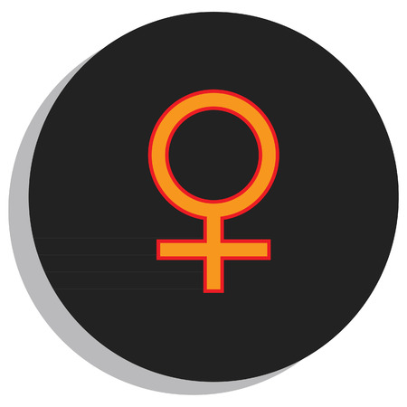 venus: Round, black and orange venus symbol, planet symbol Illustration