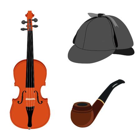 pijp roken: Sherlock Holmes set met grijze deerstalker hoed, pijp roken en viool Stock Illustratie