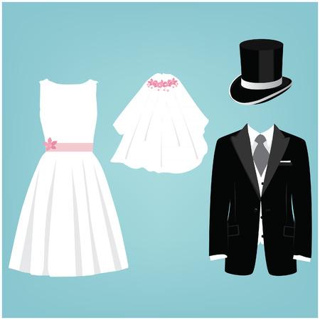 Wedding card, invitation with wedding dresses cylinder, tie and jacket, veil, white wedding dress