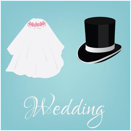 White bride veil and groom black cylinder, wedding couple, wedding invitation Vector