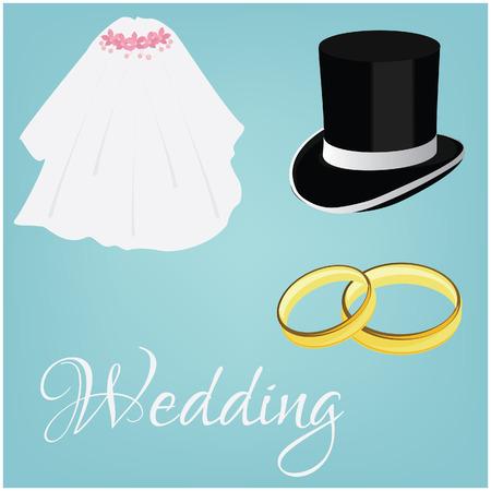 Wedding rings, white bride veil and groom black cylinder, wedding couple, wedding invitation Vector
