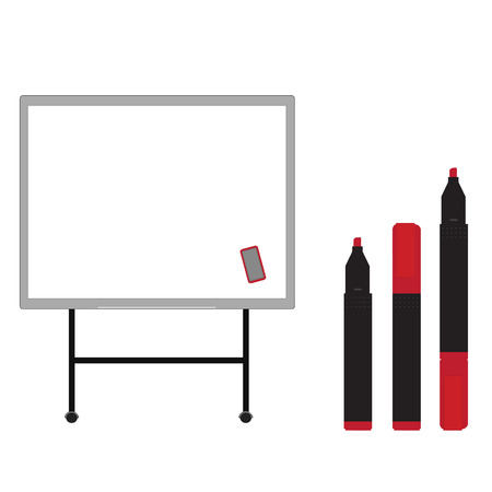 Whiteboard with  opened, closed, red markers vector isolated on white