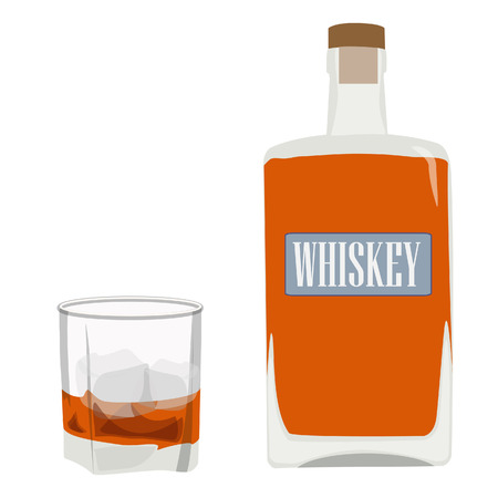 bourbon whisky: Whiskey bottle and glass with ice vector, alcohol beverage