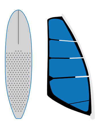 windsurf: Blue windsurf sail and surfing board vector set isolated, extreme sport, water sport