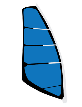 Blue windsurf sail vector isolated, surfing, water sport, extreme sport