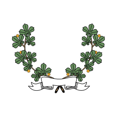ruban blanc: Illustration of vintage wreath with white ribbon vector isolated Illustration