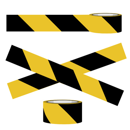hazard tape: Yellow and black danger tape vector, caution tape, police tape Illustration