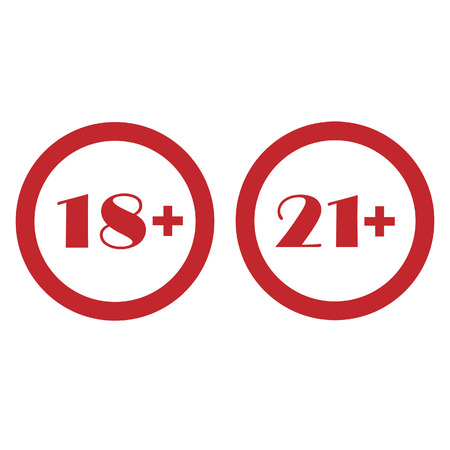 not permitted: Round red signs under 18 eighteen and under 21 twenty one vector icon set