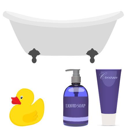 shower bath: Bath and  bathroom accessories yellow rubber duck, purple liquid soap and cream vector set