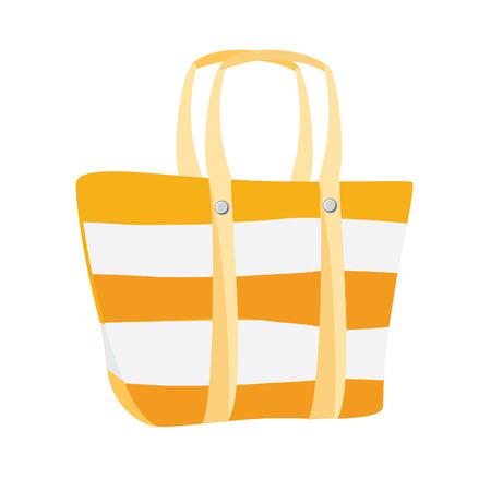 beach bag: Orange and white striped summer beach bag vector isolated