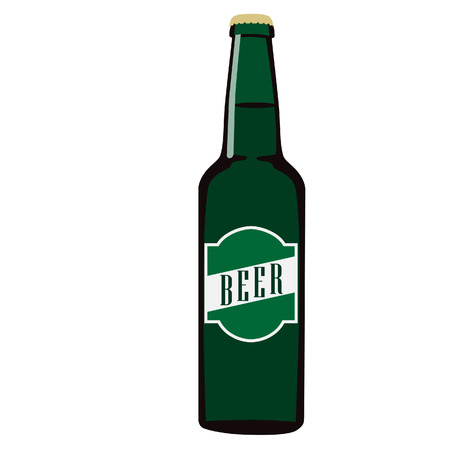 Green full beer glass bottle with label or sticker beer vector isolated, alcohol