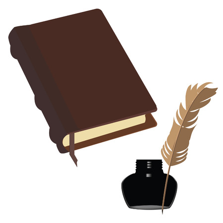 inkwell: Brown old leather book with bookmark and black  inkwell with feather vector set Illustration