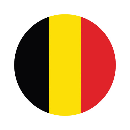 belgium: Round belgium flag vector icon isolated, belgium flag button