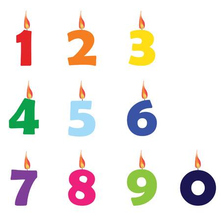 Collection of wax birthday candles numbers from zero to nine different colors vector