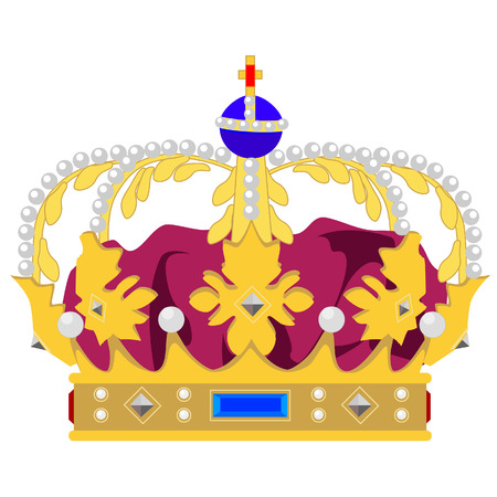 coronation: Golden queen crown vector isolated, medieval crown, king crown, princess crown Illustration