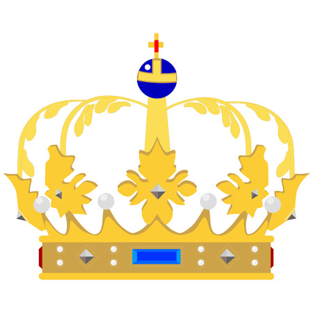aristocracy: Golden queen crown vector isolated, medieval crown, king crown, princess crown Illustration