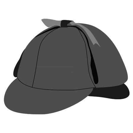 Detective  sherlock holmes hat vector isolated, grey hat , deerstalker hat Illustration